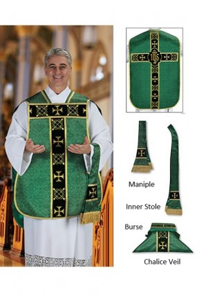 "R.J. Toomey Roman ""Fiddleback"" Green IHS Chasuble With Accessories"