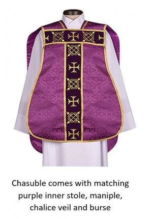"R.J. Toomey Roman ""Fiddleback"" Purple IHS Chasuble With Accessories"