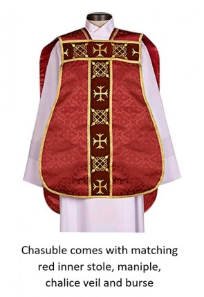 "R.J. Toomey Roman ""Fiddleback"" Red IHS Chasuble With Accessories"