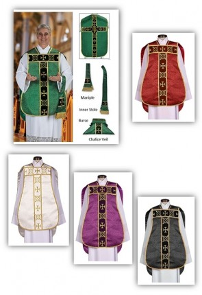"R.J. Toomey Roman ""Fiddleback"" IHS Set Of Five Chasubles With Accessories"