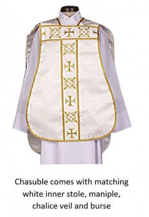 """R.J. Toomey Roman """"Fiddleback"""" White IHS Chasuble With Accessories"""