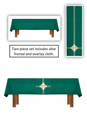 R.J. Toomey Trinity Cross Collection Green Altar Frontal and Overlay Cloth Set