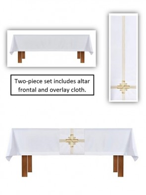 R.J. Toomey Trinity Cross Collection White Altar Frontal and Overlay Cloth Set