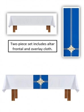 R.J. Toomey Trinity Cross Collection White/Blue Altar Frontal and Overlay Cloth Set