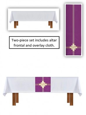 R.J. Toomey Trinity Cross Collection White/Purple Altar Frontal and Overlay Cloth Set