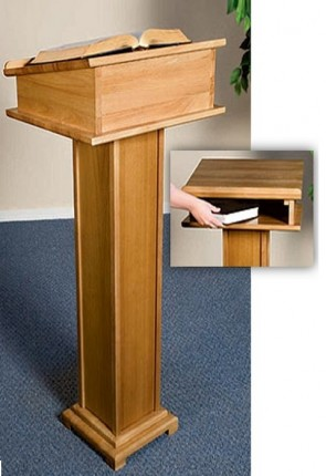 """Robert Smith 43""""H Maple Square-Base Lectern With Shelf"""
