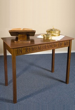 """Robert Smith 48""""W Engraved Maple Communion Table"""