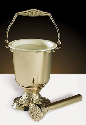 "Sudbury Brass 10""H Brass Holy Water Pot with Sprinkler"