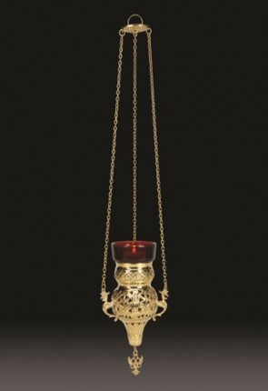 "Sudbury Brass 16""L Hanging Votive Lamp With Holder"