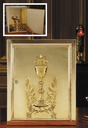 "Sudbury Brass 19""H Chalice And Host Brass Tabernacle"