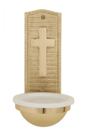 "Sudbury Brass 9-1/2""H Cross Brass Holy Water Font"