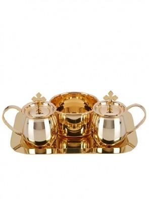 Sudbury Brass Brass Cruet Set with Matching Tray and Bowl