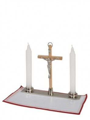 Sudbury Brass Crucifix And Candles With Stand