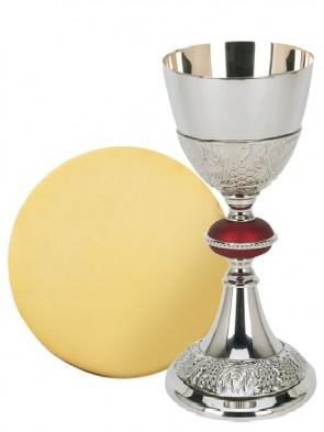 Sudbury Brass Embossed Grape Chalice and Paten Set