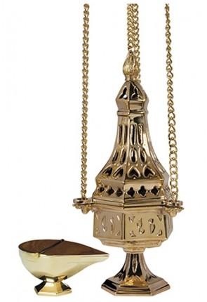Sudbury Brass French Medium-Sized Censer And Incense Boat Set