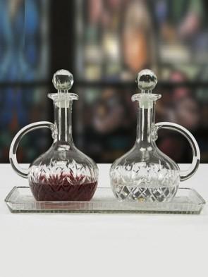Sudbury Brass Glass Cruet Set with Matching Glass Tray