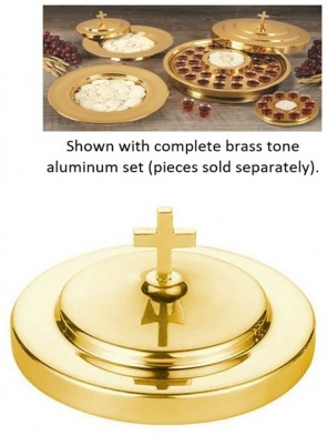 Sudbury Brass Polished Brass Tone Aluminum Stacking Bread Plate Cover