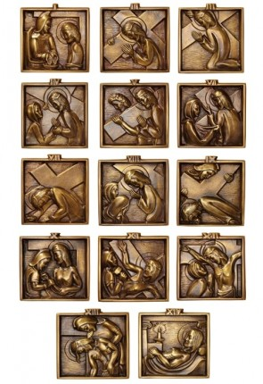 Sudbury Brass Stations of the Cross Series Set of 14 Brass Plaques