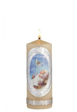 "Will & Baumer 2""D ""Baby with Dove"" Baptism Candle - Box of 4 Candles"