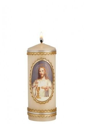 """Will & Baumer 2""""D """"Bread of Life"""" First Communion Candle - Box of 4 Candles"""
