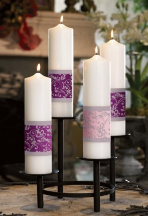 "Will & Baumer 3""D Paraffin-Based Emmanuel Collection Advent Candle Set"