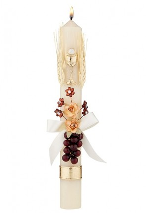 """Will & Baumer 1-1/4""""D """"Grapes, Wheat And Flowers"""" First Communion Candle - Box Of 4 Candles"""