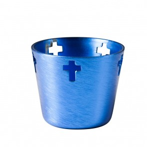 Will & Baumer Blue, Aluminum, 10-Hour Votive Candle Holder - Box Of 12 Holders