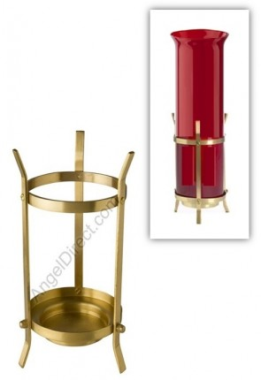 Will & Baumer Brass Stand For 14-Day Sanctuary Candle And Globe