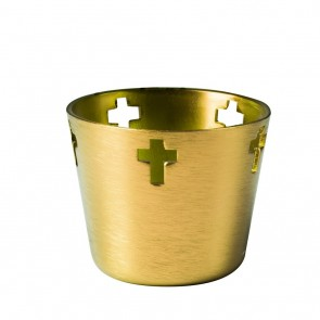 Will & Baumer Gold, Aluminum, 10-Hour Votive Candle Holder - Box Of 12 Holders