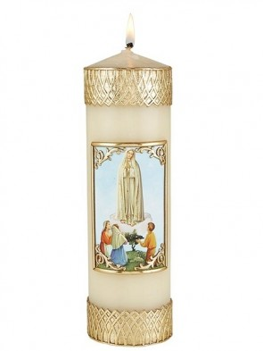 Will & Baumer Our Lady of Fatima Wax Devotional Candle - Set of Two Candles
