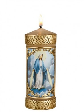 Will & Baumer Our Lady of Grace Wax Devotional Candle - Set of Two Candles
