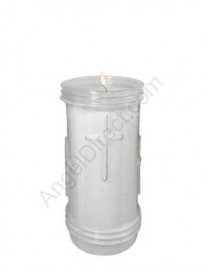 Will & Baumer Prayerlights Clear, 4-5 Day, Plastic Devotional Candle - Case Of 12 Candles