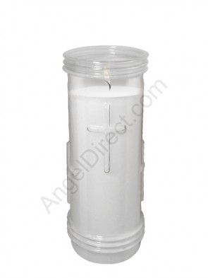 Will & Baumer Prayerlights Clear, 6-Day, Plastic Devotional Candle - Case Of 12 Candles