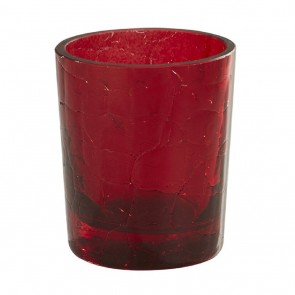 Will & Baumer Red, Crackle Glass, 15-Hour Votive Candle Holder - Box Of Four Holders