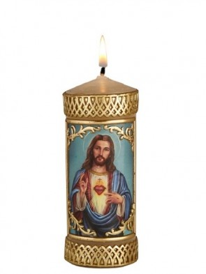 Will & Baumer Sacred Heart of Jesus Wax Devotional Candle - Set of Two Candles