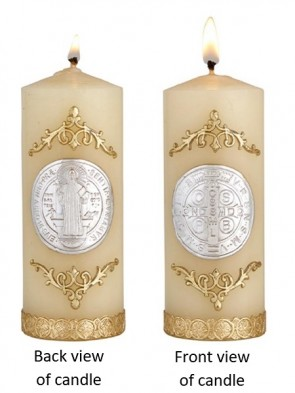 Will & Baumer Saint Benedict Wax Devotional Candle - Set of Two Candles