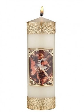 Will & Baumer Saint Michael the Archangel Wax Devotional Candle - Set of Two Candles