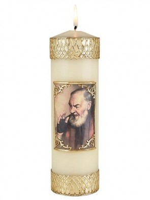 Will & Baumer Saint Pio Wax Devotional Candle - Set of Two Candles