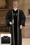 Cambridge Black Peachskin Embroidered Cross Pulpit Robe