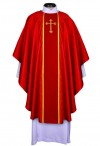R.J. Toomey Fleur-de-Lis Cross Jacquard Collection Red Chasuble With Inner Stole