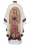 R.J. Toomey Our Lady Of Guadalupe Ivory Chasuble With Classic Round Neck And Inner Stole