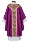 R.J. Toomey Printed Gothic Collection Purple Chasuble With Inner Stole